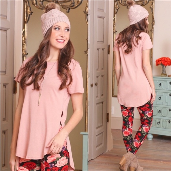 Infinity Raine Tops - 3 FOR $30 • Blush Pink Slit Side Tunic